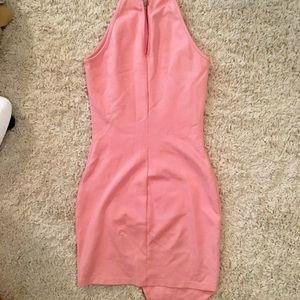 Light Pink Asymmetrical Halter Top Dress